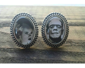 Pair of Frankenstein And His Bride Pair Small Rings.