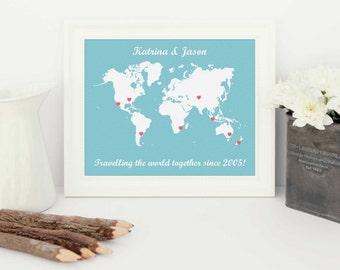 world traveller, personalised map, personalised world traveller map, travel adventure, personalised world map, personalised world, map print