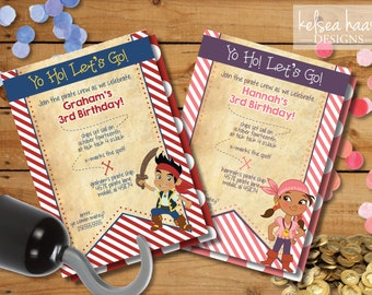 Jake and the Neverland Pirates Printable Invitation, DIY, Jake, Izzy, Pirate Party, 5x7