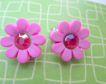Pink flower earrings-Childrens jewelry-girls-clip on earrings-fun gifts for kids-little girls dress up jewelry-nickel free-stud-Valentine