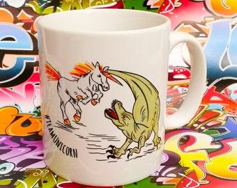 dinosaur vs unicorn mythical mug hand drawn rainbow fighting ceramic coffee lover cup