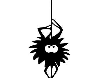 Fuzzy Spider Hanging From Web Die-Cut Decal Car Window Wall Bumper Phone Laptop