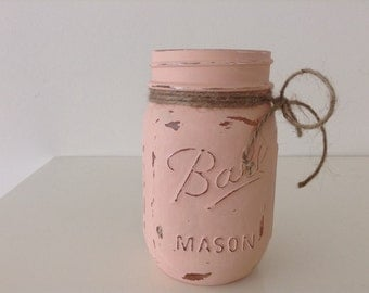 Hand Painted Mason. Rustic Home Decor. Centerpiece. Baby Shower. Wedding Decor. Mason Jar Centerpiece. Mason Jar Wedding Favor.Gift