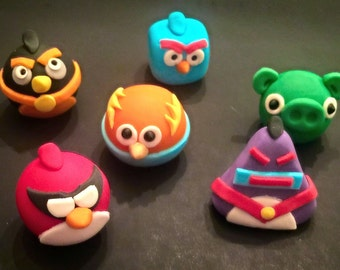 Space Angry Birds Cupcake Toppers