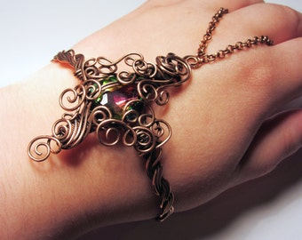 Solid Copper Wire-wrapped Ornate Slave Bracelet Bangle with Rainbow Glass Crystal - XL