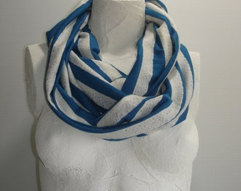 Striped Infinity Scarf - Lacy Scarf - Teal Striped Knit Scarf - Teal Infinity Scarf - Blue Infinity Scarf