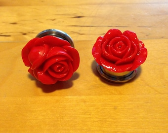 10mm-12mm-14mm-16mm-18mm-20mm-22mm red rose plugs for stretched ears