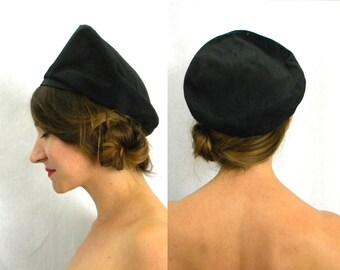 50s Black Silk Turban Hat | Black Beret | Valeria Modes