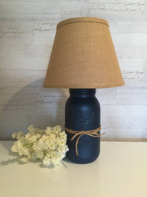 mason jar lamp distressed in navy blue w burlap shade. Black Bedroom Furniture Sets. Home Design Ideas