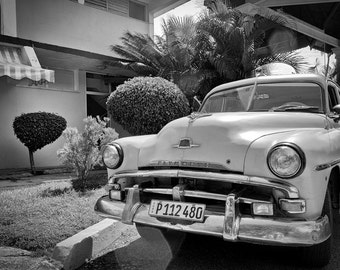 Old car, Old american car, Plymouth in black and white, Fine art photography cuba