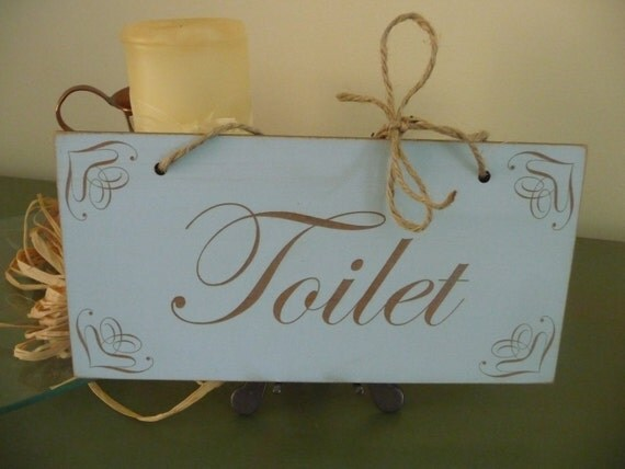 Shabby chic toilet sign toilet door sign distressed toilet for Commode style shabby chic
