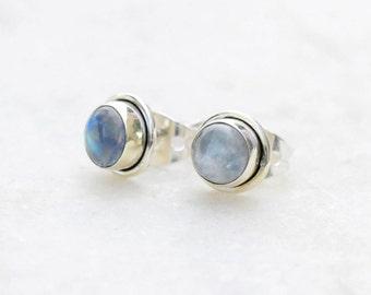 Rainbow Moonstone Stud Earrings, Moonstone Post Earrings, Silver Stud Earrings, Tiny Earrings