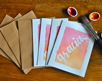 "Set of Eight ""Gracias"" Watercolor Card"