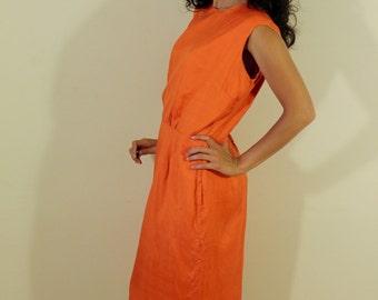 1950s Orange Wiggle Dress
