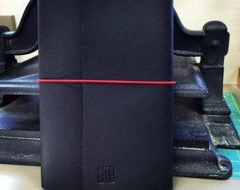 All Sizes Black Trifold Fillion Leather Refillable Journal for Moleskine, Field Notes, Custom made by Little Mountain Bindery