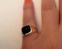 Signet Ring, women ring, Pinky ring, Onyx Signet Ring. Gold Signet Ring, Black square Signet Ring, Man Pinky Ring, Woman Pinky Ring
