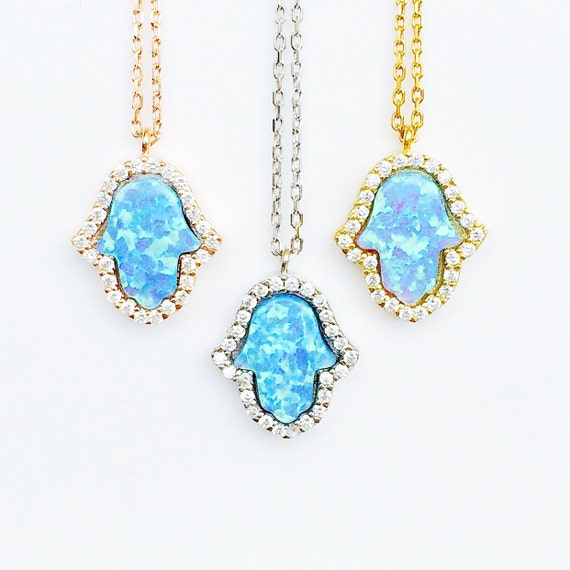 opal hamsa necklace cubic zirconia