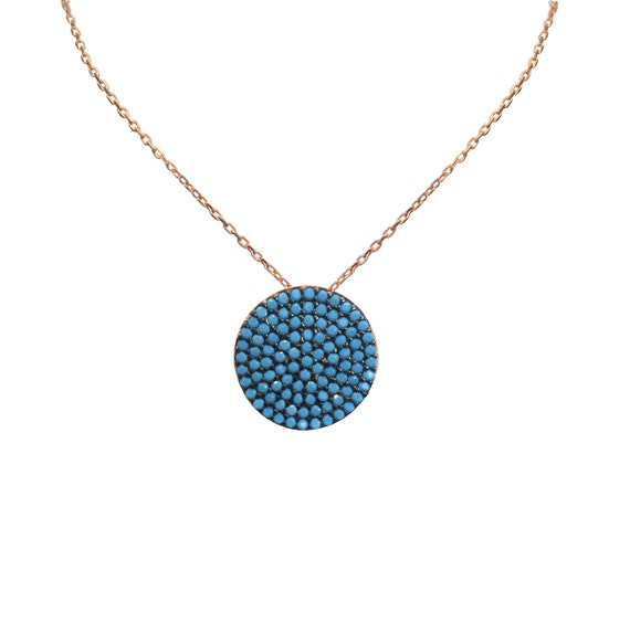 pave disc necklace rosse gold plated sterling silver with cubic zirconia ON SALE NOW