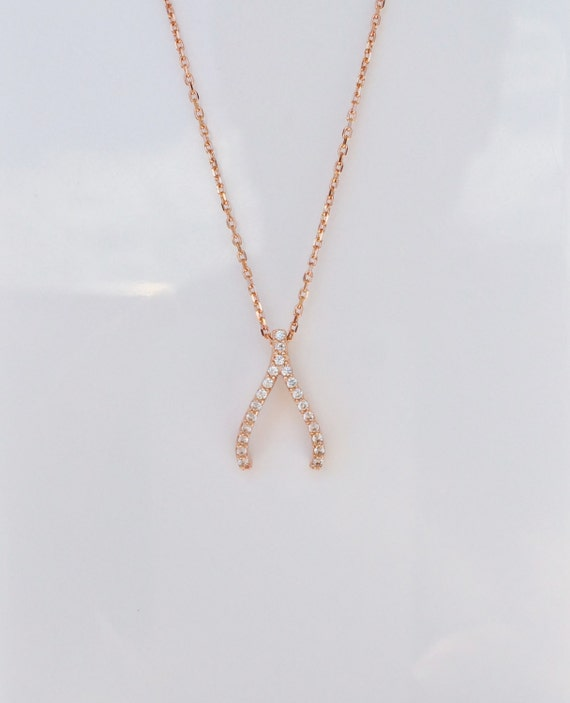 Wishbone Necklace, in rose gold radiance pave with sparkly zirconia, What's your wish, May they all come true