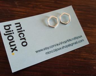 Hexagon Geometric Stud Earrings Gold Silver Micro Jewelry Fine Metal