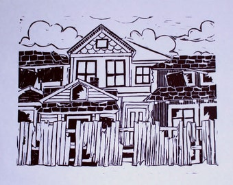 The Only Good House Linocut Print