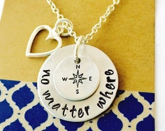 No Matter Where Necklace, Hand Stamped Sisters Necklace, Best Friends Necklace, Mother and Daughter Necklace