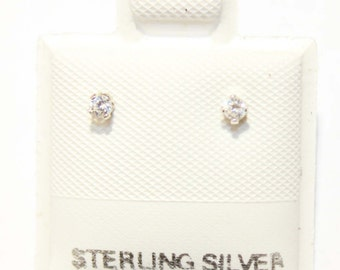 2mm Clear Cubic Zirconia Stud Earring .925 Sterling Silver