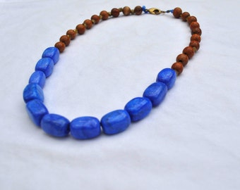 Blue Lapis Beaded Necklace