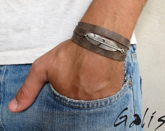 Men's Bracelet - Men's Leather Bracelet - Men's Feather Bracelet - Men's Jewelry - Men's Gift - Boyfriend Gift - Husband Gift - Male Jewelry