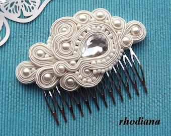 ECRU/IVORY Soutache comb,  Wedding Hair Accessory, Soutache , Wedding Hair