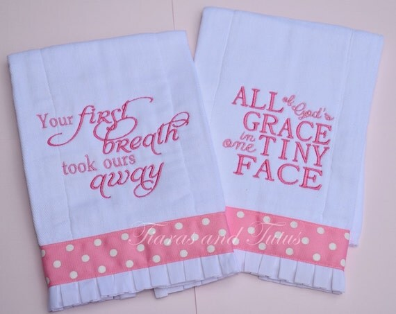 Baby gifts burp cloth set embroidered
