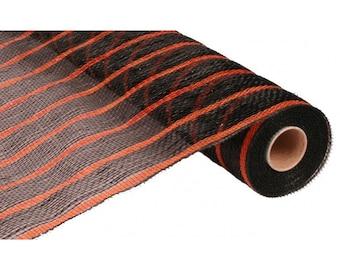 "21"" Black Orange Stripe Deco Poly Mesh, Orange Stripe Deco Mesh, Halloween Mesh - RE1033G5"