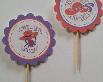 Red Hat Society cupcake toppers