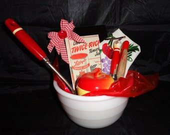 Welcome/Housewarming Gift Vintage Red/White Kitchen Items, GE Mixer Bowl, HA Apple Bowl, AJ Kitchen Utensils