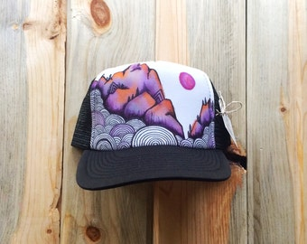 Sunset Mountain Hand Painted Trucker Hat