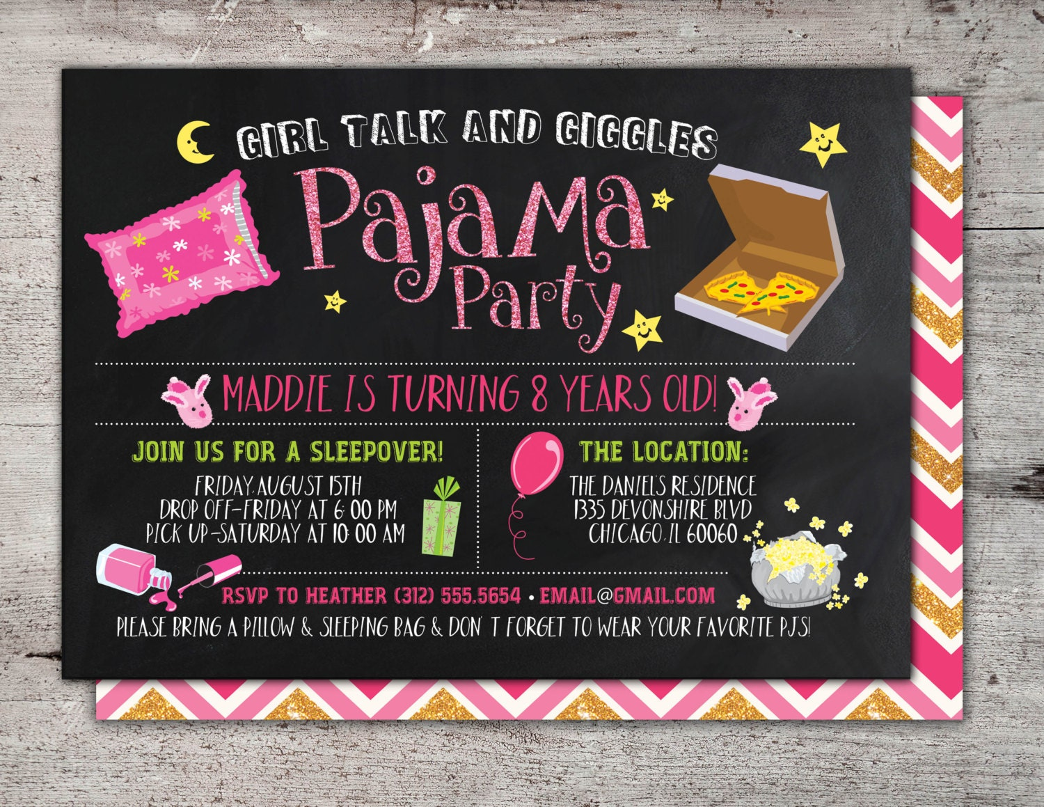 slumber party invitation / girls slumber party invitations