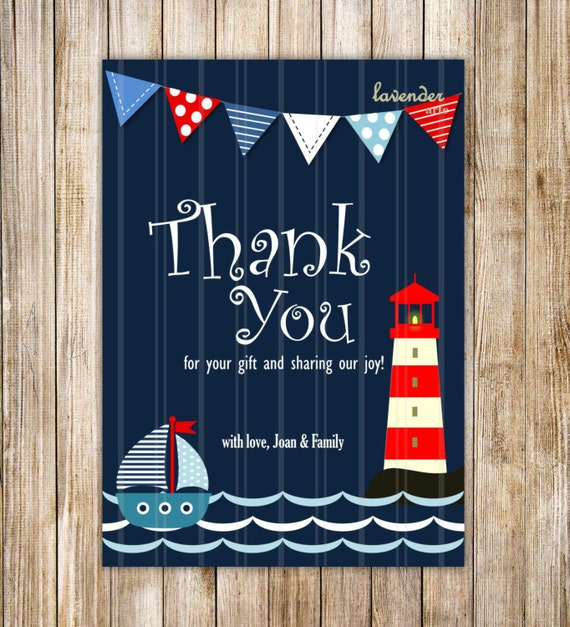 Navy Blue Nautical Thank You Card Navy Sailboat Baby Shower