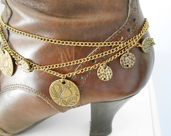 Boot Bracelet with Brass Chain and Brass Disks