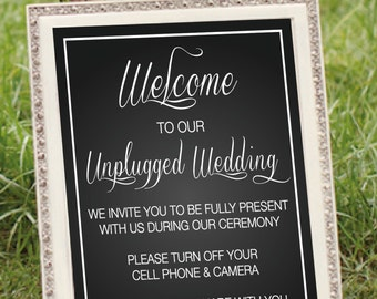 "Wedding sign Unplugged Wedding Sign 8""x10"" No camera No cell phones Wedding ceremony unplug INSTANT DOWNLOAD"