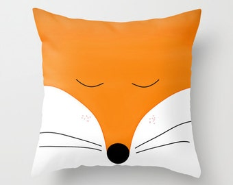 Fox pillow cover Animal 16x16 18x18 20x20 22x22 cushion Orange bedding, red fox, Orange Home decor bedroom nursery woodland Forest Gift