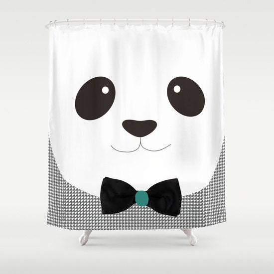 Panda bear shower curtain bathroom decor designer animals for Panda bear decor