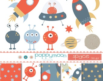 Outer space,red, blue and mustard, printable digital clipart and paper pack.