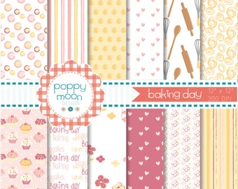 baking day with mum, digital paper pack