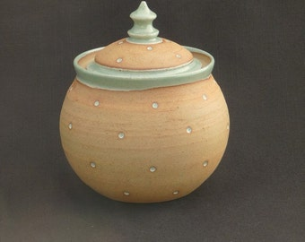 Medium Dotty Stoneware Lidded Canister