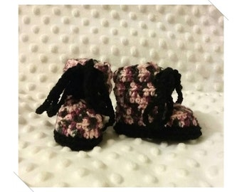 Newborn Baby Crocheted Camo Pink & Black Combat Boots 8cm Sole