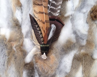 Large Ceremonial Feather Smudge Fan with Geode & Antler