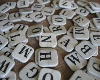 80 cardboard letters - black letters on beige or off-white cardboard, bulk alphabet game letters, vintage scrapbooking supplies