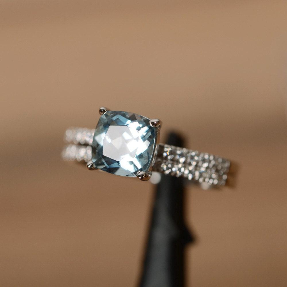 cushion cut aquamarine engagement ring march