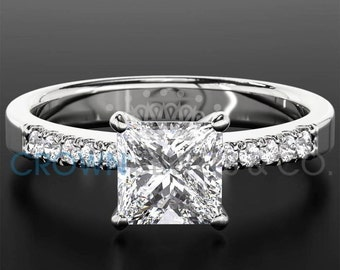 Ladies Engagement Ring 1.3 ct Princess Cut Diamond D VS Solitaire With Accents Wedding Ring In White Gold Setting