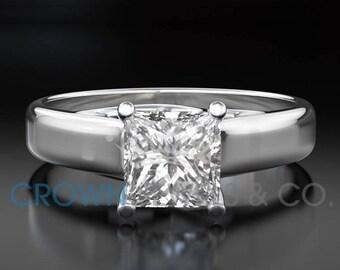 Diamond Engagement Ring Solitaire F VS Princess Cut Diamond 18K White Gold Ring For Women